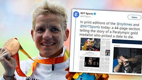 Oman kuolinpäivänsä päättänyt Marieke Vervoort juhli menestystään Rion paralympialaisissa. New York Times julkaisi hänen tarinastaan laajan, koruttomia ja tunteikkaita valokuvia sisältäneen artikkelin.