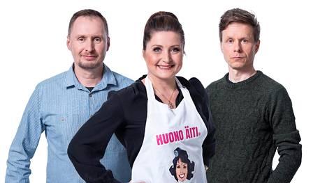 Juha Korhonen, Sari Helin ja Saska Tuomasjukka kilpailevat ruokainnovaatioillaan Suomalainen menestysresepti -sarjassa.