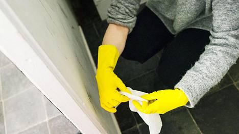 Kylpyhuoneessa siivoamatta jäävät helposti saumat ja lattiakaivo.