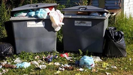 Jätteet leviävät tyhjentämättömistä astioista maastoon Leppävirralla.