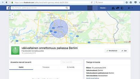 Facebook on aktivoinut turvallisuustilansa Berliinissä, jotta ihmiset voivat ilmoittaa olevansa turvassa.