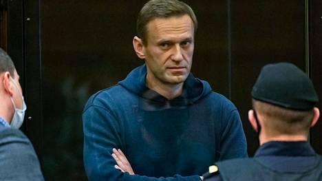 Aleksei Navalnyi kuvattuna Moskovan kaupunginoikeudessa tiistaina.