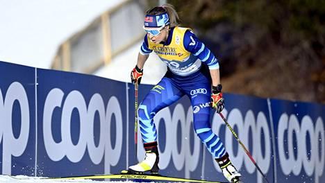 Riitta-Liisa Roponen oli naisten kympillä kymmenes.