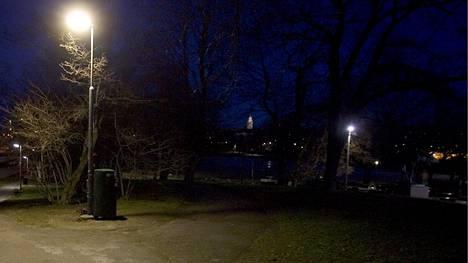 Raiskaus tapahtui elokuisena yönä Kaisaniemen puistossa Helsingissä. Kuvituskuva.