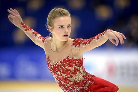 Emmi Peltonen syntyi Nashvillessä ja on harjoitellut paljon Kaliforniassa. Kuva on Finlandia Trophyn harjoituksista torstailta.
