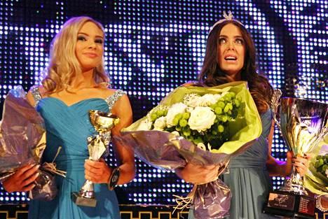 Kun kaikki oli vielä hyvin: Hannaleena Laaksamo (vas.) sekä myöhemmin Miss Helsinki -kruunustaan luopunut Jessica Ruokola.
