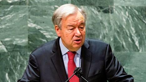 YK:n pääsihteeri Antonio Guterres puhui New Yorkissa 22. syyskuuta 2021.