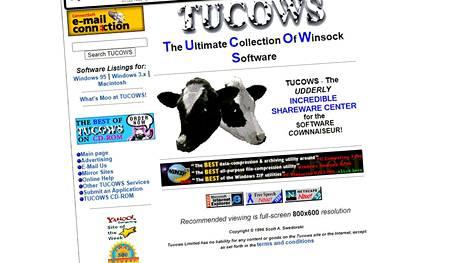 Tucowsia suositeltiin aikoinaan katseltavaksi Netscapella tai Internet Explorerilla. Kuvakaappaus Internet Archiven Wayback Machinesta.