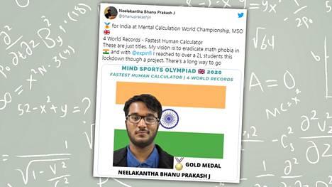 20-vuotias Neelakantha Bhanu Prakash on rikkonut 50 Limca-ennätystä.