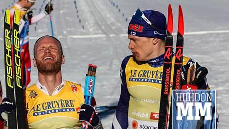 Iivo Niskanen seurasi vierestä, kun Martin Johnsrud Sundby juhli maailmanmestarina.