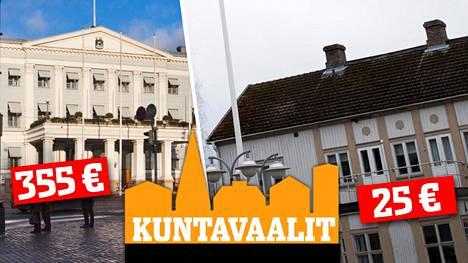 Helsingissä kaupunginvaltuuston kokouksesta maksetaan 355 euroa, Luhangalla 25 euroa.