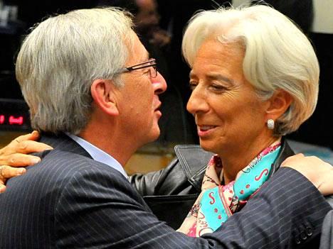 Jean-Claude Juncker ja Christina Lagarde Luxemburgin kokouksessa.