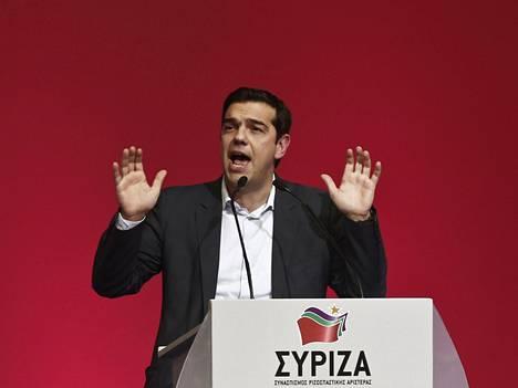 Syriza-puolueen puheenjohtaja Aleksis Tsipras.