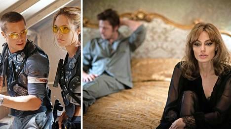 Brad Pitt ja Angelina Jolie rakastuivat Mr. & Mrs. Smith -elokuvan (vas.) kuvauksissa. Kymmenen vuotta myöhemmin ilmestyneessä Meren äärellä -elokuvassa he esittivät aviovaikeuksiin avautunutta paria.