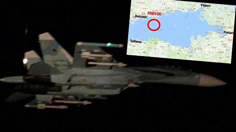 Puolustusvoimien ottama kuva havaitusta SU-27 -hävittäjästä, joka epäillyn mukaan loukkasi Suomen ilmatilaa torstaina kello 21.33.