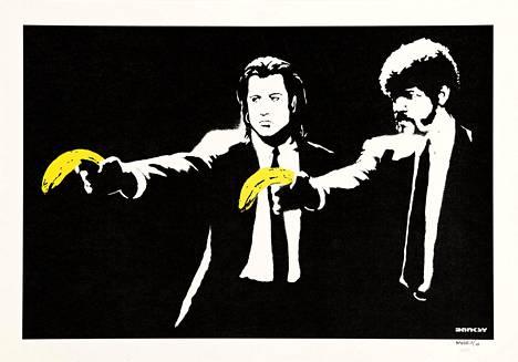 Banksy on nykytaiteen suuri tuntematon, mutta hänen työnsä tunnistaa jokainen. Tässä Banksyn väkivallaton näkemys Quentin Tarantinon elokuvasta: Pulp Fiction, 2004, serigrafia.