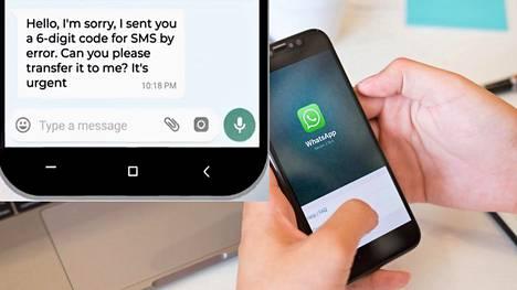 WhatsAppilta tullutta koodia seuraa kaverin nimissä tuleva WhatsApp-viesti. Tällöin tiliäsi yritetään kaapata.