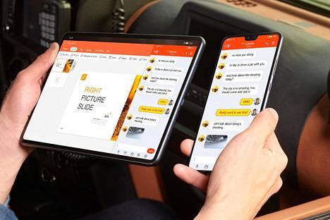 Huawei markkinoi laitteitaan etenkin niiden yhteistoiminnalla.