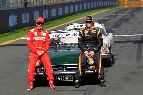 Fernando Alonso ja Kimi Räikkönen Melbournessa 2012.