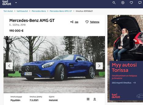 Bottaksen auto on myynnissä Tori Autot -sivustolla.