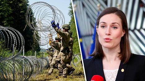 Valko-Venäjän toiminta on pääministeri Sanna Marinin mukaan erittäin huolestuttavaa. Kuvassa Liettuan armeijan sotilaita maan ja Valko-Venäjän rajalla.