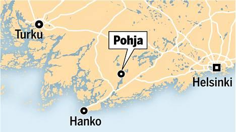 Merellinen Pohja sijaitsee Helsingin ja Turun puolivälissä.