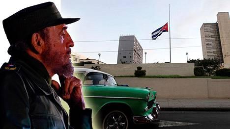 Lippu oli puolitangossa Kuuban Havannassa Fidel Castron kuoleman johdosta.
