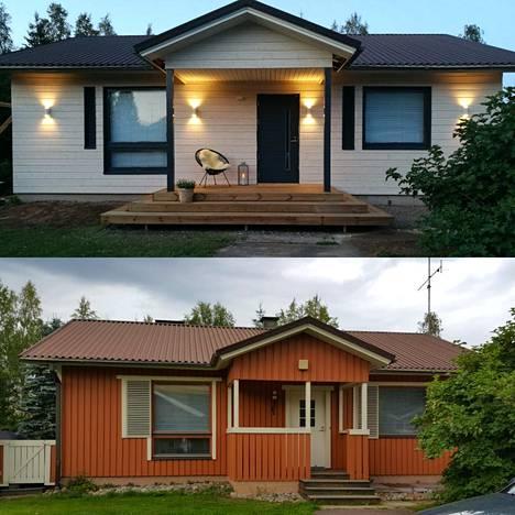Koti remontoituna ja ennen remonttia.