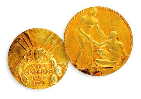 Elias Katzin kultamitali olympiakisoista 1924.
