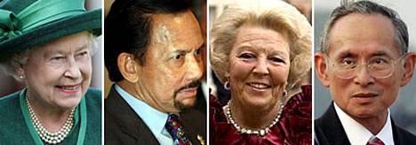 Rikkaimpien kuninkaallisten listalle pääsivät muun muassa kuningatar Elizabeth, Brunien sulttaani, Hollannin kuningatar Beatrix ja Thaimaan kuningas Bhumibol Adulyadej.