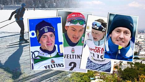 """Calle Halfvarsson, Finn Hågen Krogh, Anne Kyllönen ja Sami """"Musti"""" Jauhojärvi kommentoivat FIS:in kokouspaikan valintaa."""