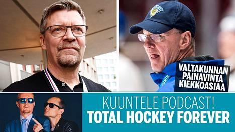Jukka Jalonen (vas.) ja Kari Jalonen ovat Suomen kiekkovalmentajien kovinta kastia.