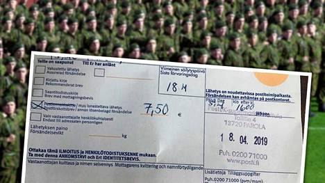 Nuoren miehen kirjeen noudon hinnaksi oli merkitty 7,50 euroa. Kutsuntakuulutuksen lisäksi kirjeessä on kyselylomake terveydentilan tutkimista varten ja ohjeet terveystarkastuksesta sekä varusmiesopas.