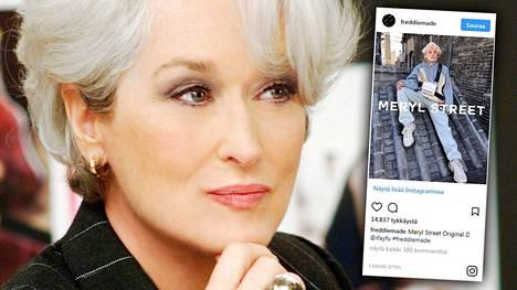 Meryl Streepin helmenharmaa muotilook muistetaan elokuvasta Paholainen pukeutuu Pradaan (2006).