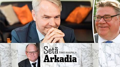 Pekka Haavisto (vas.) ja Timo Soini.