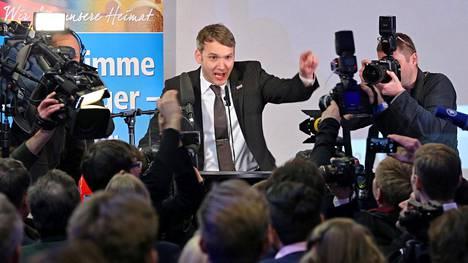 Maahanmuuttovastaisen Vaihtoehto Saksalle (AfD) -puolueen kärkiehdokas Andre Poggenburg puhui medialle sunnuntaina.