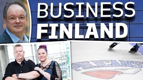 Business Finlandin johtaja Reijo Kangas (ylhäällä vasemmalla) vakuuttaa, että julkisuus tai kaverisuhteet eivät ole vaikuttaneet kehittämistuen saantiin.
