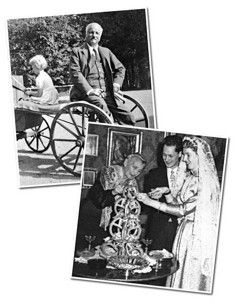 Anna Lisa kyyditsee isoisäänsä Carl August Armfeltia hevosella. Alempana Anna Lisa ja Günter leikkaavat hääkakkukrokanttia Anna Lisan isoäidin Julianen seurassa.