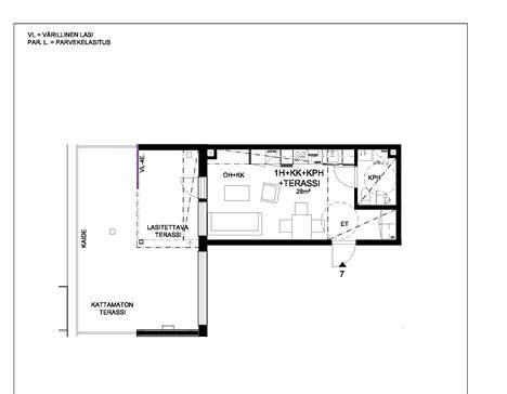 Toisessa kerroksessa sijaitsevan yksiön pohjapiirroksesta näkee, että terassin neliöt ylittävät asunnon kokonaisneliömäärän.
