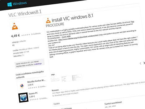 """""""Install Vlc Windows 8.1"""" tarjoaa ilmaisohjelman latauslinkkiä 4,49 euron hintaan. Sama julkaisija johdattaa maksua vastaan myös iTunesin sekä Firefoxin latauksen äärelle."""