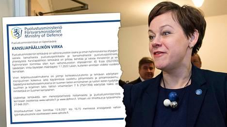 Puolustusministeriö etsii uutta kansliapäällikköä. Paula Lehtomäki sanoo, ettei hänellä ole työpaikan vaihtosuunnitelmia, mutta kieltäytyy kertomasta asiaan liittyneistä taustakeskusteluista.