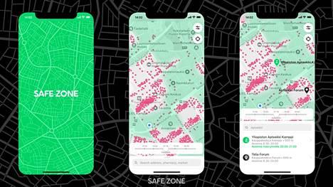 Yksi voittajista on SafeZone, joka näyttää isot väkijoukot kartalla.
