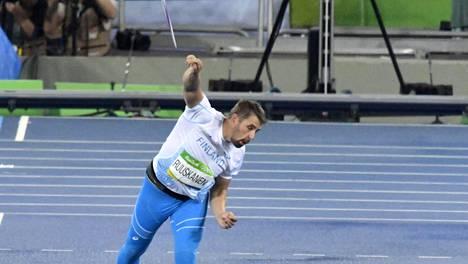 Antti Ruuskanen heitti olympiafinaalissa kuudenneksi tuloksella 83,05.