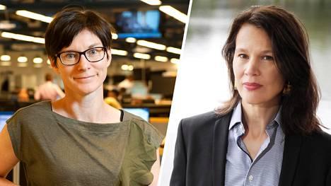 Nordean pääekonomisti Tuuli Koivu (vas.) ja Palkansaajien tutkimuslaitoksen johtaja Elina Pylkkänen eivät usko hallituksen nykytoimien edistäneen työpaikkojen syntyä.