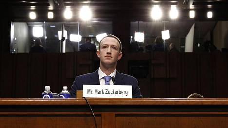 Mark Zuckerberg oli senaatin kuultavana Washingtonissa huhtikuussa 2018.