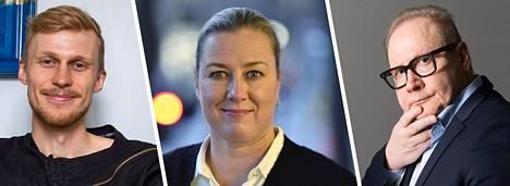 Roni Back, Jutta Urpilainen ja Jari Tervo.