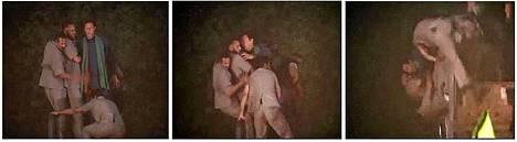 Imran Khan vihreässä huivissaam putosi nosturista.