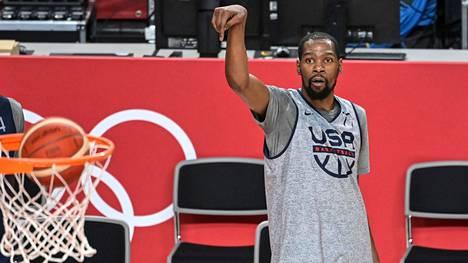 Kevin Durant Yhdysvaltojen miesten koripallojoukkueen harjoituksissa torstaina 22. heinäkuuta.