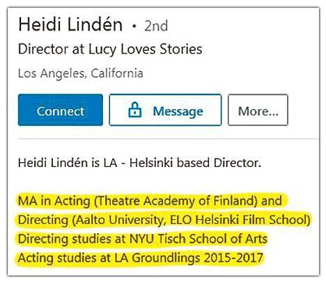 IS:n yhteydenoton jälkeen profiilin tekstiä on muutettu. Sivuilta saa silti yhä käsityksen, että hänellä olisi maisterinopinnot tehtynä Aalto-yliopistosta ja elokuvaohjauksen opintoja Tischistä.