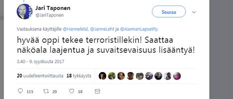 Ylikomisario Jari Taposen Twitter-viesti nousi otsikoihin amerikkalaisella vihasivulla.